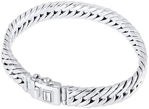 Kuzzoi Buddha Silber-Armband für Herren, handgefertigtes Panzer-Armband aus echten massiven 925 Sterling Silber poliert, Herren-Armband Gravur, 10mm breit, 43g schwer 0210560118_17