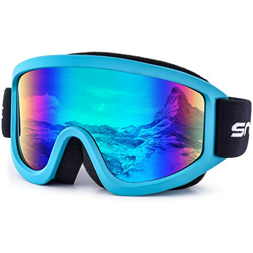 HUBO SPORTS Snowboard Goggles with UV400 Protection, Skiing Snowboarding Goggles of Dual Lens with Anti Fog for Men, Women, Helmet Compatible(BU-FGreen)