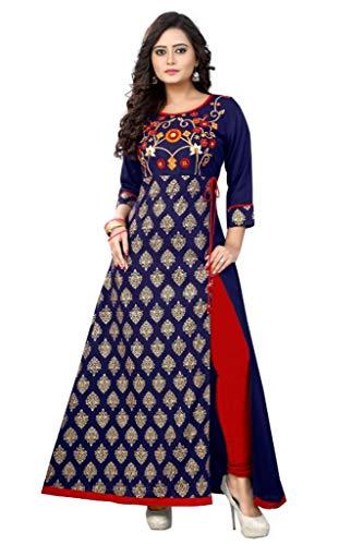 ziya Rayon Long Women Dress Printed Kurti Women Formal & Party Wear 96 (40), Blue