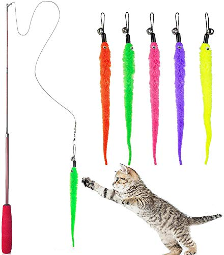 Tarnel Diealles Interaktives Katzenspielzeug Einziehbare Natürliche Federstab Katze Spielzeug mit 5 Stück Katzenangel Ersatz Wurm Katzenspielzeug