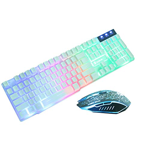 T6 Rainbow Backlight USB Ergonomic Gaming Keyboard and Mouse Set for PC Laptop (White)