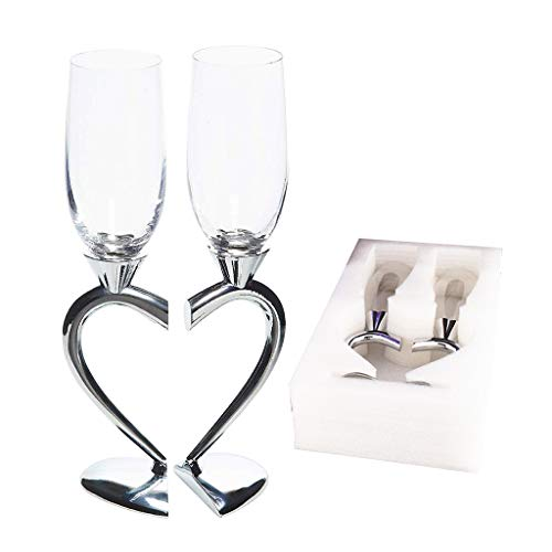 JOYKK champagne toasten fluit bruiloft accessoires Linked Love Set van 2 zilver - Clear