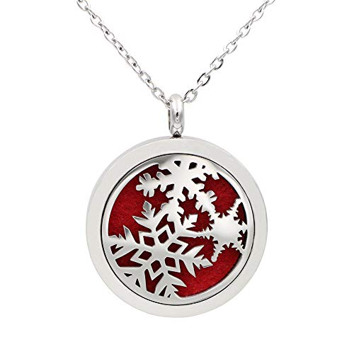 FANSING Christmas Necklaces for Women Snowflake Pendant Holiday Jewelry Stainless Steel Aromatherapy Essential Oil Diffuser Necklace Locket with Refill Pads