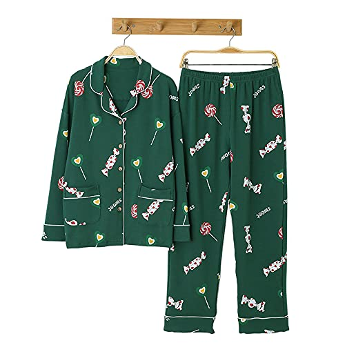 KKLLHSH Conjunto de Pijamas de Cuello Vuelto para Mujer de Gran tamaño, Ropa de Dormir de Manga Larga de algodón de otoño e Invierno, Ropa para el hogar-Green_4XL