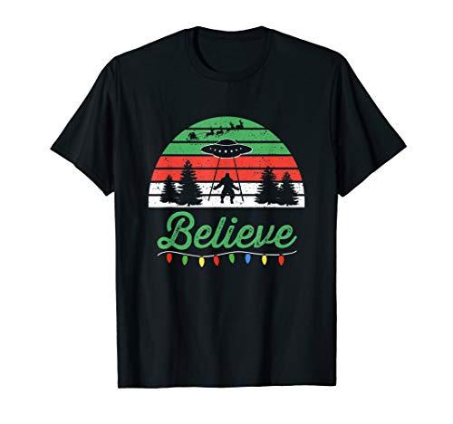 Bigfoot Believe UFO Aliens Santa Claus Reindeer Christmas T-Shirt