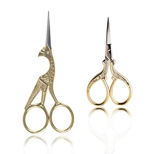 BIHRTC 2 Pairs 3.6'' Embroidery Scissors and 4.5'' Bird Scissors Sewing Scissors Stainless Steel Sharp for Sewing Crafting Art Work Threading Needlework DIY Tools Small Shears Gold Scissors