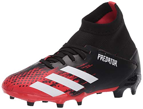 adidas Kids' Predator 20.3 Firm Ground Soccer Shoe, Core Black/White/Core Black, 13K