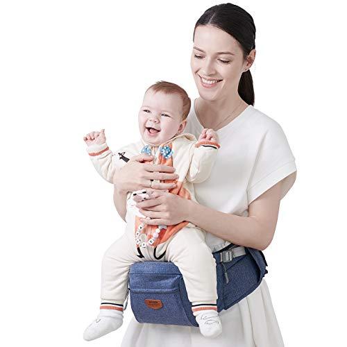 SUNVENO Baby Hipseat Carrier, Ergonomic Reduce Waist Hip Seat for Mom, Lightweight Certified Fabrics Soft Carrier for Newborns, Toddlers, Children, 6-48 lbs, Navy