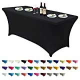 ABCCANOPY Spandex Tablecloths for 6 ft Home Rectangular Table Fitted Stretch Table Cover P...