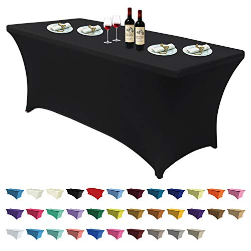 ABCCANOPY Spandex Table Cover 6 ft. Fitted 30+ Colors Polyester Tablecloth Stretch Spandex Table Cover-Table Toppers (6 FT, Black)