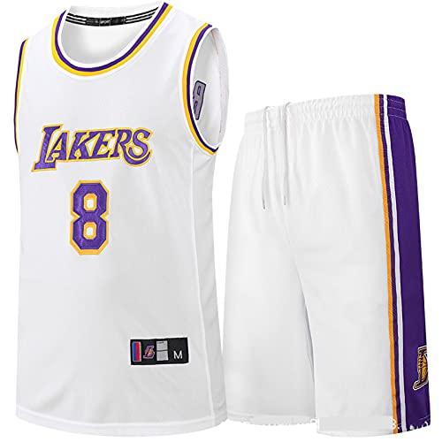 ZJFSL Hombres NBA Jersey Lakers Kobe 8 Pantalones Cortos de Baloncesto Bordados y Conjunto de Traje de Entrenamiento Transpirable sin Mangas