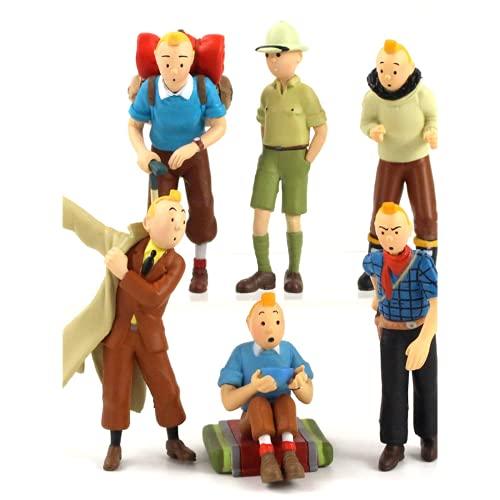 Die Abenteuer von Tintin Model Action Puppe Cartoon Movie Explorer Tintin Puppe PVC Sammelmodell Spielzeug 6 Stück