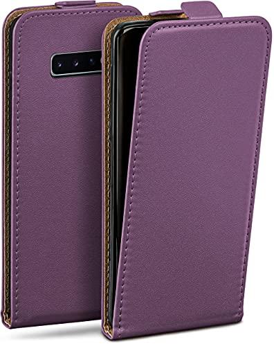 moex Flip Hülle für Samsung Galaxy S10 Hülle klappbar, 360 Grad R&um Komplett-Schutz, Klapphülle aus Vegan Leder, Handytasche mit vertikaler Klappe, magnetisch - Lila