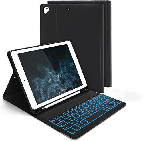 Jelly Comb Bluetooth Tastatur Hülle für iPad 9,7 2018(6. Gen.)/iPad 2017(5. Gen.)/iPad Pro 9,7/Air/Air 2, 7-farbige Beleuchtete Abnehmbare QWERTZ Tastatur mit Schützhülle, Schwarz