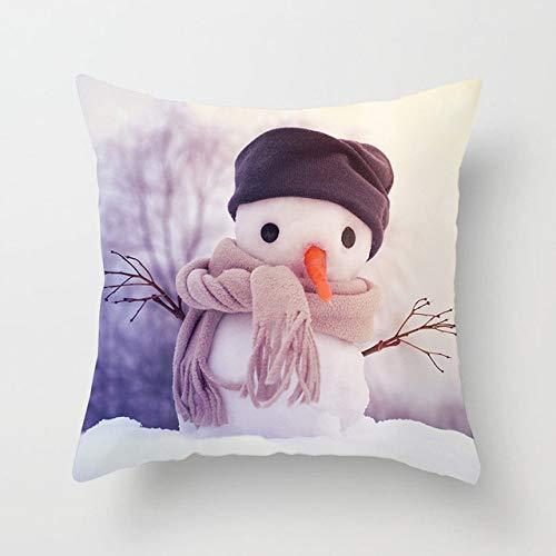 18 X 18 Pulgadas ,Square Color Impresión Poliéster Nordic Decorative Throw Pillows Case Christmas Snowman Square Cushion Cover Sofá Cama Home Para Sofá Coche Dormitorio Oficina Oficina Pillow Cas