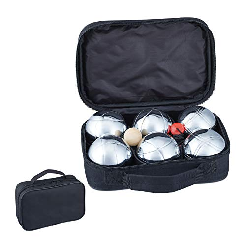 Relaxdays Boule Set, 6 Boccia Kugeln aus Metall, Zielkugel & Abstandsmesser, Petanque mit Tragetasche, silber/schwarz