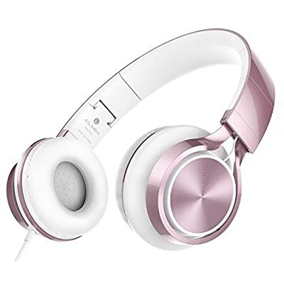 AILIHEN MS300 Headphones Over Ear Foldable 3.5 mm Wired Earphone for Smartphones Computer PC Tablet (Rose Gold) by AILIHEN
