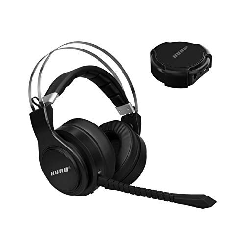 2.4 G Optical Wireless Technology 7.1 Surround Sound Wireless Gaming Headset for Nintendo Switch PC, PS4 and Deep Bass with Detachable Microphones