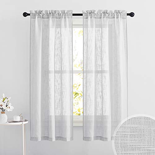 RYB HOME Linen Textured Semi Sheer Curtains Half Privacy Light Glare Filtering Breezy Airy Window Decor for Bedroom Bathroom Living Room, Dove Grey, W 34 x L 63 inch, 2 Panels