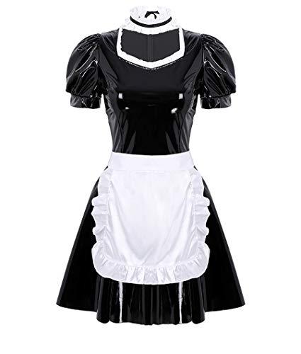 MSemis 3Pcs Damen Kostüm Dienstmädchen Lack Leder Kleid Cosplay Uniform Dessous Set Minikleid, Satin Schürze, Halsband Clubwear Gr. S-XL Schwarz 2XL