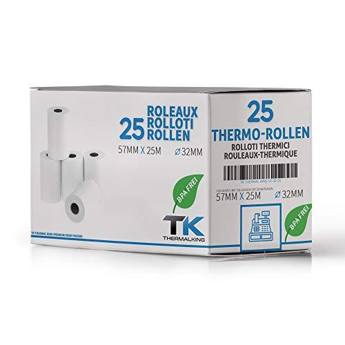 25 x EC Cash Thermorollen - Breite: 57 mm – Durchmesser: 35 mm - Hülsendurchmesser: 12 mm – Länge: 25 m - für Bondrucker, EC-Terminals, etc.