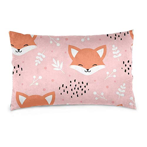 iksrgfvb Pillowcases 16X24inch Cute Fox Seamless Pattern, Wolf Hand Drawn Forest Background Throw Pillow Covers Sofa Car Cushion Cover Home Decorative 40X60CM