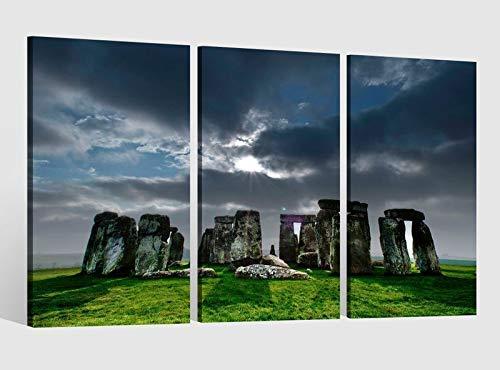Leinwandbild 3 tlg Stonehenge Steinkreis Skyline Kat15 England Kat Bild Bilder Leinwand Leinwandbilder Holz Wandbild mehrteilig Kunstdruck fertig gerahmt 9AB547, 3 tlg BxH:120x80cm (3Stk 40x 80cm)