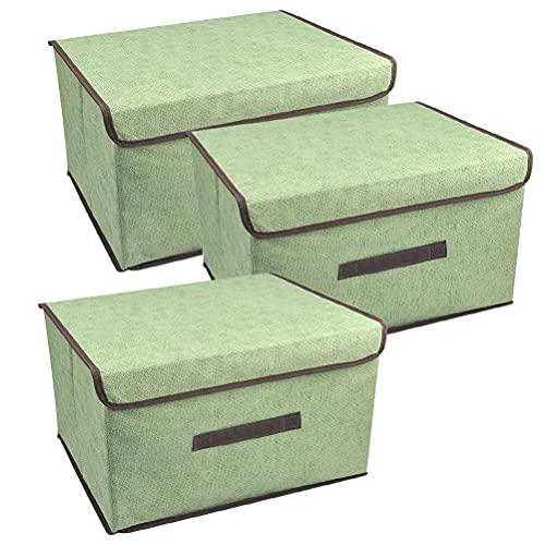 YOTINO Cajas de almacenaje,Cajas de Almacenamiento con Tapas,Set de 3 Organizadores de Juguetes,Ropa y Libros para Dormitorios y Estanterías-verde claro