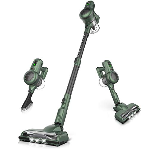 ORFELD Cordless Vacuum 4 in 1 Powerful Suction Self-Standing Stick Handheld Vacuum Cleaner for Hardwood Floor Carpet Pet Hair Car, Ultra-Lightweight Green/Black