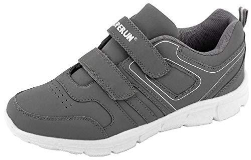LEKANN No.310 Herren | Sportschuhe Turnschuhe Laufschuhe Sneaker | Leicht und Bequem mit Klettverschluss | Grau Gr. 45 EU