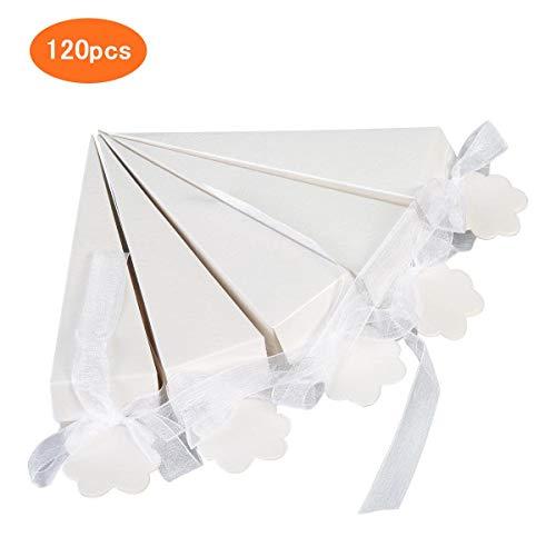 ZITFRI 120pcs Coni Portariso Coni Portaconfetti Confettata Coni Riso Matrimonio Antimacchia Bianco con Nastro di Chiffon