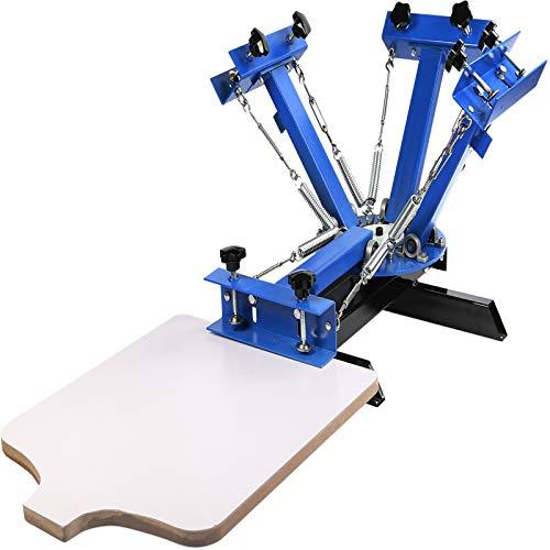 VEVOR Screen Printing Machine 4 Color 1 Station Screen Printing Press 21.7X 17.7 Inch Silk Screen Printing for T-Shirt DIY Printing Removable Pallet
