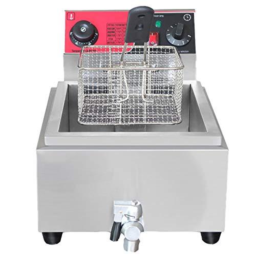 GXFCH SHOP Semi-Professionelle Fritteuse, Edelstahl,0-5 Minuten Timer Temperaturbereich 50 Bis 200 ℃, 8L 2500W, Für...