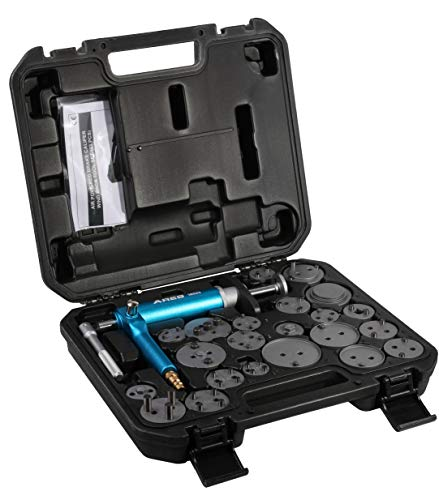 ARES 18023-23-Piece Brake Caliper Wind Back Tool Set - Pneumatic Design for Easy One-Person Use - Includes Compressor Tool and 22 Drive Key Disc Adapters - Storage Case Included