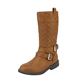 DREAM PAIRS Girls Tan Buckle Knee High Riding Boots Size 10 Toddler Luckid-01