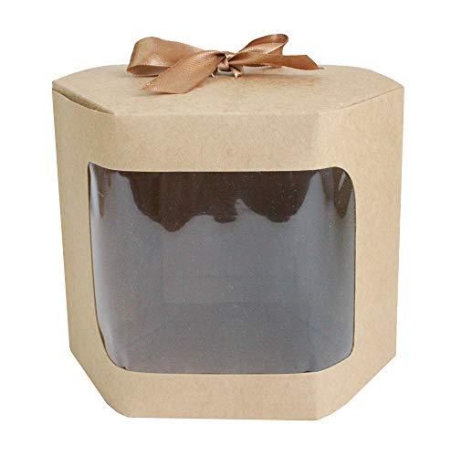 Emartbuy Carta Forte Sacchetto Rregalo Esagonale In Piedi, 13 cm x 13 cm x 14 cm, Borsa Kraft Marrone Scatola per Torta Cupcakes Biscotti Con Finestra Trasparente e Nastro - Confezione da 24