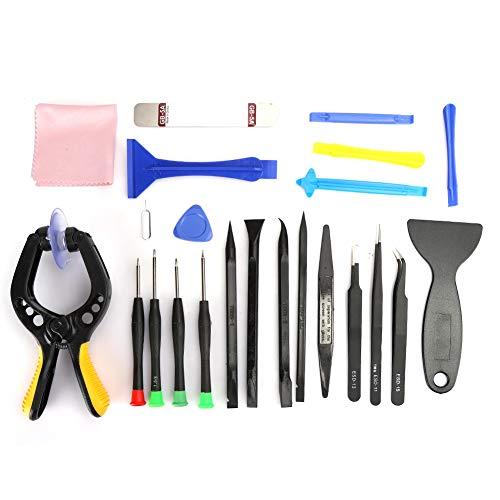 Juego de herramientas de reparación de teléfonos, herramienta electrónica de palanca abierta y pinzas de CI y destornillador de precisión y juego de alicates de ventosa(23 piezas)