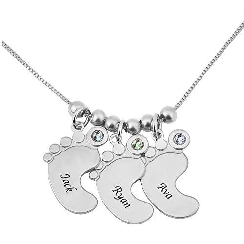 Bofum Personalizado Personalizado Tres Pies del Bebé Encanto Collar con Nombre de Niños Celebran Mamás Niños Birthstone Joyería