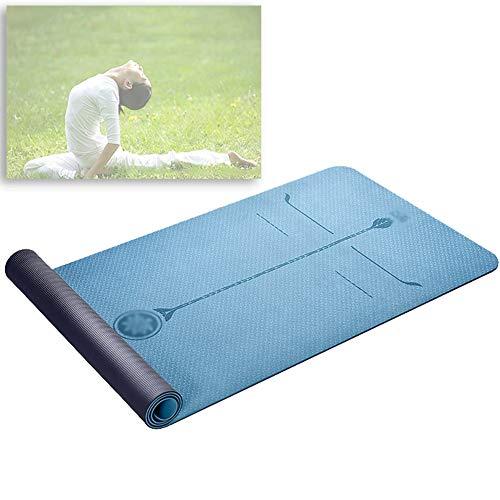 MAHFEI Estera De Yoga Colchoneta De Ejercicios Esterilla Antideslizante for Yoga con Línea De Posicionamiento Salud Y Protección del Medio Ambiente Textura De Doble Cara