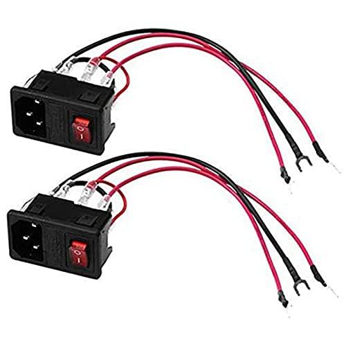 Ctzrzyt 2 Piezas Interruptor de Alimentación de Impresora 3D 220 V / 110 V 10A Enchufe de Protección de Cortocircuito Enchufe de Módulo de Entrada con Interruptor de 250 V
