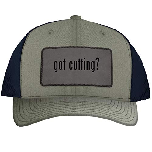 got Cutting? - Leather Grey Patch Engraved Trucker Hat HeatherNavy, One Size