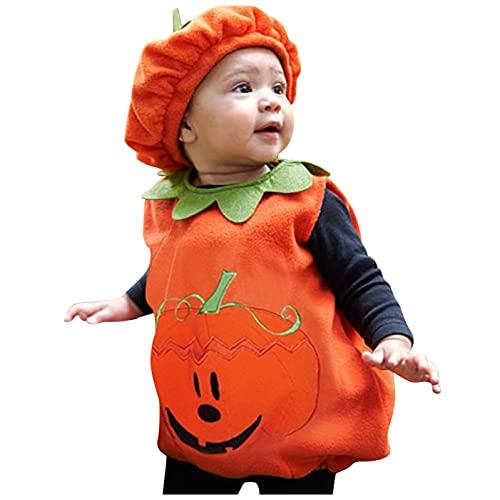 Dasongff Halloween Cosplay Ensemble 2 Pièces Bébé Fille Garçon Citrouille Barboteuse Combinaisons (Débardeurs en Citrouille + Chapeau), Tenue Festival Bébé Enfant pour Automne