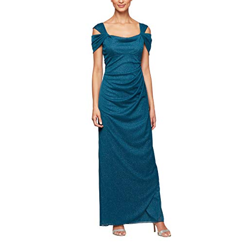 Alex Evenings Women's Long Cold Shoulder Dress (Petite and Regular Sizes), Peacock Glitter, 12