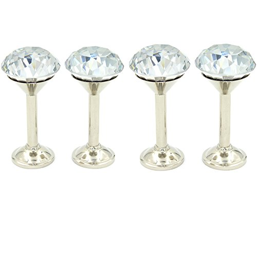 BTSKY Raffhalter-Wandhaken, 4x 40mm, Glas-Kristall, klar, Vorhanghalter mit Chrom-Basis, silberfarben