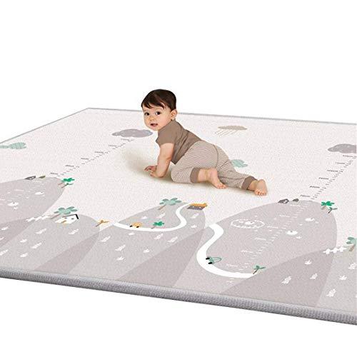 Krabbelmatte, Spielmatte mit Tier Doppelseitige Wasserdichte Kinderteppich Zusammenfaltbare Baby Gym, 200 * 180 * 1cm (grau)