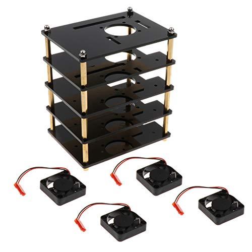 B Blesiya Caja de Caja de 4 Capas con Ventilador para La Serie Raspberry Pi 3b + 3b 2 B 2b +, con Orificios para Disipador de Calor, Negro