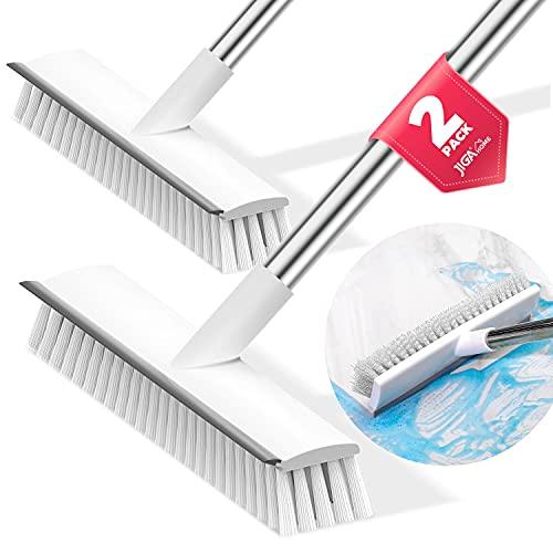 JIGA 2 Pack Floor Scrub Brush With Long Handle, Stiff Bristle Brush Scrubber, Cleaning Brush For Dec…