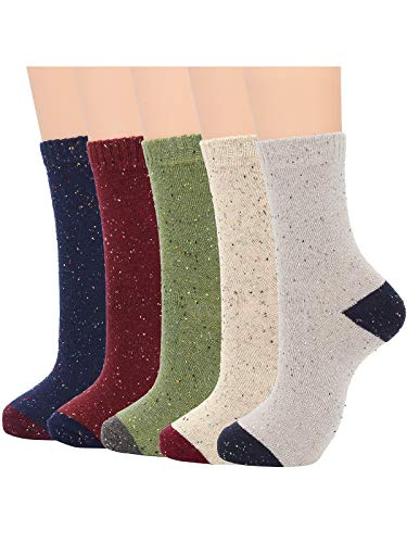 Century Star Damen Sportsocken Strickmuster Sportsocken Winter Wollsocken Crew Cut Kaschmir Socken Warm Weiche Socken - - Einheitsgröße