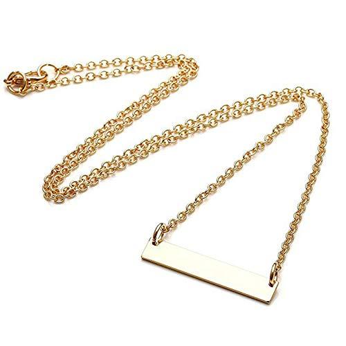 TTDAltd Collar Sueños Hechos Realidad Collar Grabado Acero Color Dorado Colar Clavícula Cadena Barra Colgante Accesorios Regalos para Amantes
