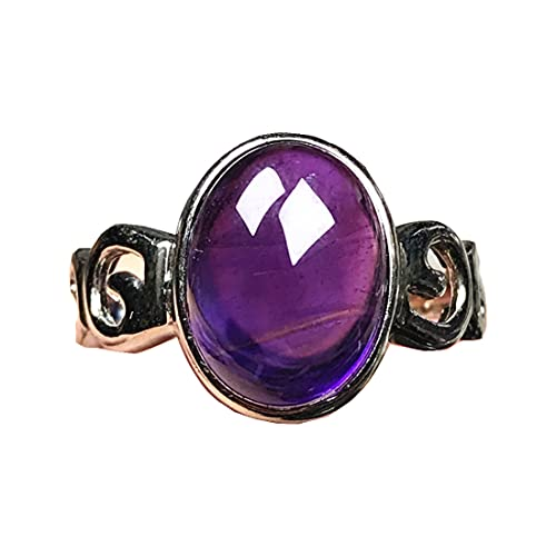 Anillos de amatista púrpura natural para mujer hombre, joyería de amatista, cuentas ovaladas de plata, piedras preciosas de 14 x 11 mm, anillo ajustable AAAAA